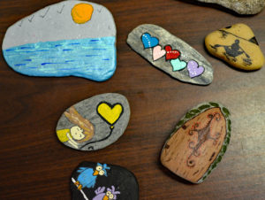 Collection of painted rocks