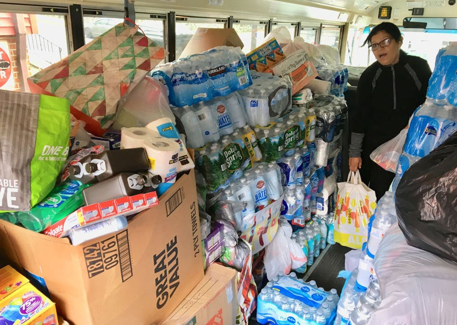 Bus filled with donated items