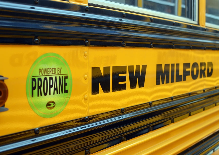 A propane-fueled bus