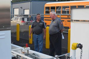 Checking our propane fueling station